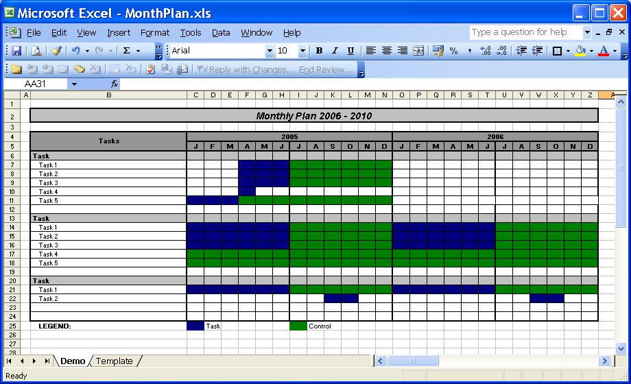 excel templates with macros - officehelp template 00030 calendar plan month