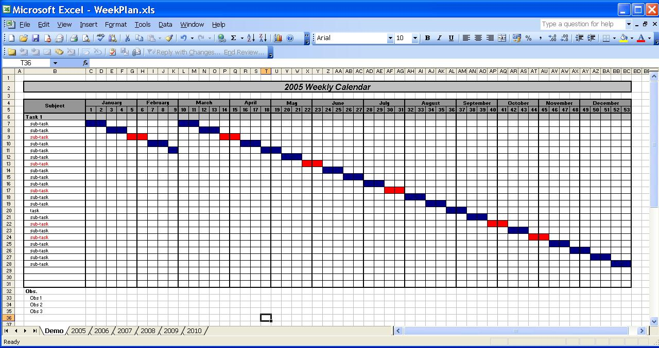 OfficeHelp - Templates (00031) - Calendar Templates 2005 / 2010 ...