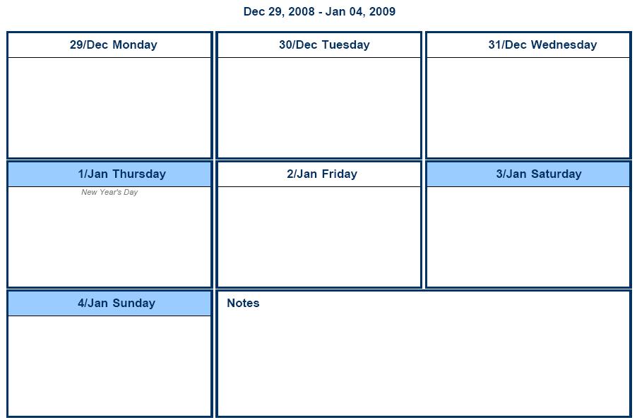 One Week Calendar Template Excel Militaryalicious